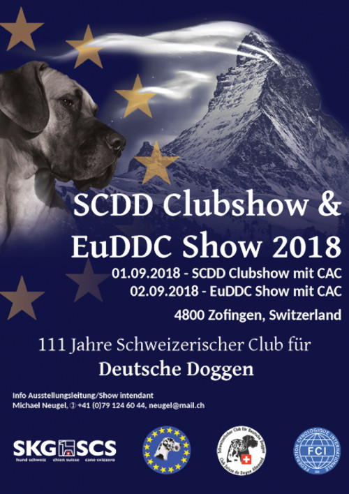 poster of the SCDD dog show and the 39th Eu.D.D.C. dog show 2018 in Zofingen in Switzerland