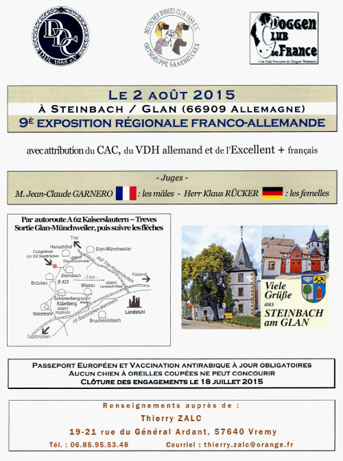 poster of the 9th french and german dog show in Steinbach-am-Glan